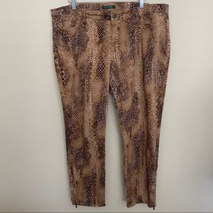 LAUREN | Reptile/Snakeskin Zip Ankle Jeans - 18W